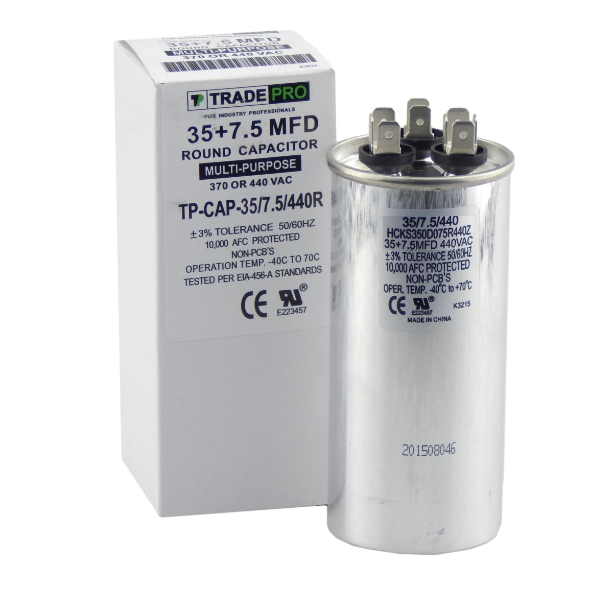 30 + 7.5 mfd Dual Capacitor, Industrial Grade Replacement for Central Air-Conditioners, Heat Pumps, Condenser Fan Motors, and Compressors. Round Multi-Purpose 370/440 Volt - by Trade Pro TradePro