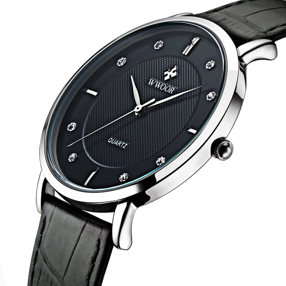 Tonnier Super slim Quartz Casual Wristwatch Business Genuine Leather Analog Men's Watch