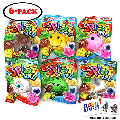 (Splat Ball Sticky & Stretchy Egg, Eyeball, Poop, Frog, Emoji, Pig (6 Pack) with 2 GosuToys Stickers)