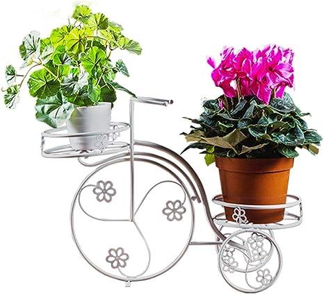QIAH Enlace Productos Bicicleta del Metal plantador Blanca con 2 ...