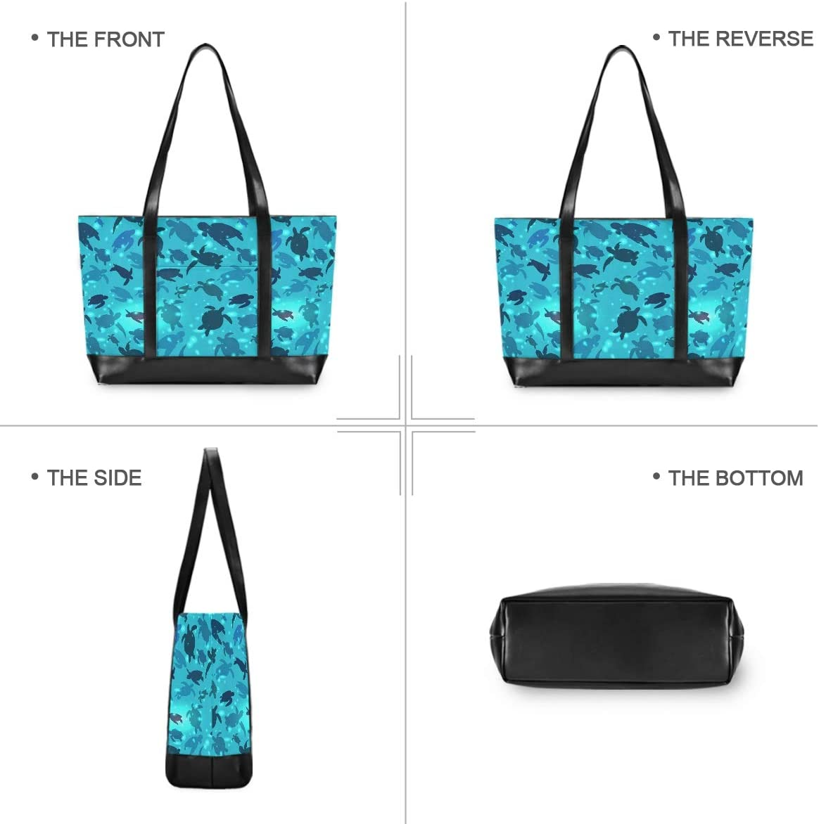 Turtle Canvas Shoulder Tote Bag Fit 15.6 Inch Computer Canvas Bag for Work School Travel Outdoor Activities Large Woman Laptop Tote Bag