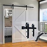 skysen 6.6FT Single Door Sliding Barn Door Hardware Track Kit Black (J Shape)