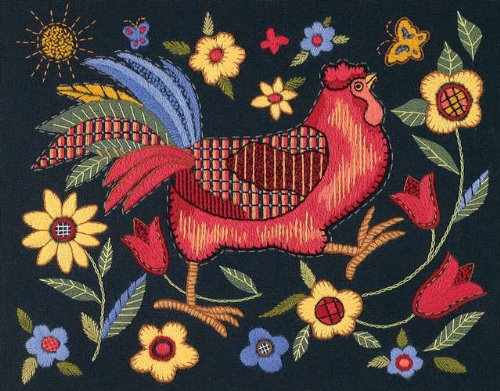 Black Crewel Embroidery Kit - Dimensions Crafts Rooster On Black Crewel Kit 11