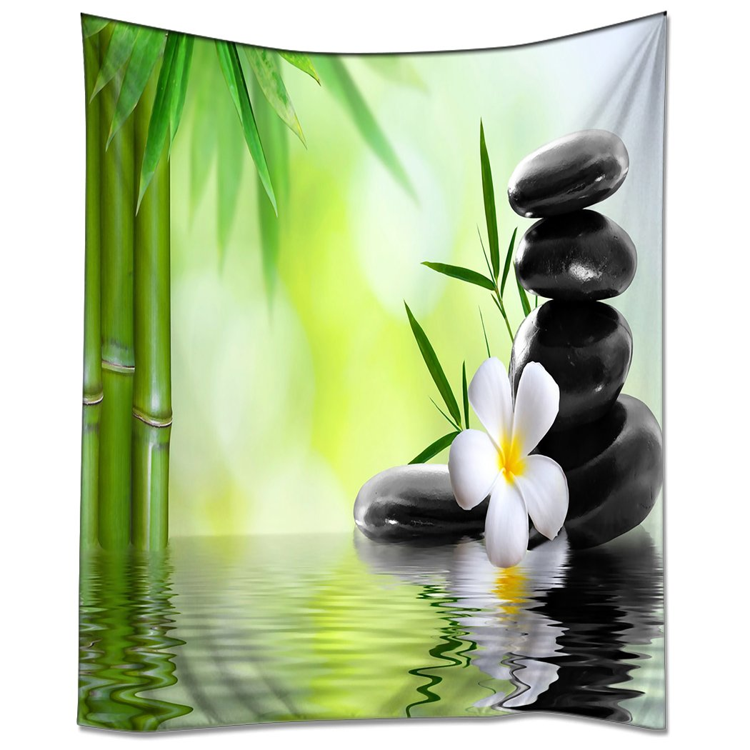 ''HommomH'' Tablecloth 51 x 51-Inch Fabric Table Cover for Kitchen Dinning Tabletop Decoration Beach Throw Cloth Bamboos Zen Massage Stones Jasmine Spa