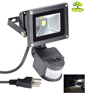 Led Motion Sensor Flood Light Outdoor 10W 800LM Pir Sensitive Security Lights Wall Fixture Lamps Waterproof Floodlight for Garage Yard Patio Pathway Porch Entryways-Daylight White (with US 3-Plug)
