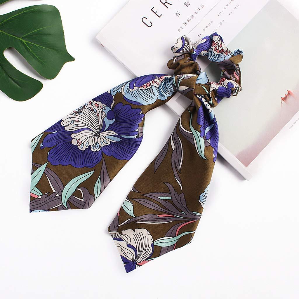 Foulard en Ruban avec Bandana Corde De Cheveux Imprim/é Floral Paisley pour Femmes Yanhonin Porte-Queue De Cheval en Soie Dimitation R/étro