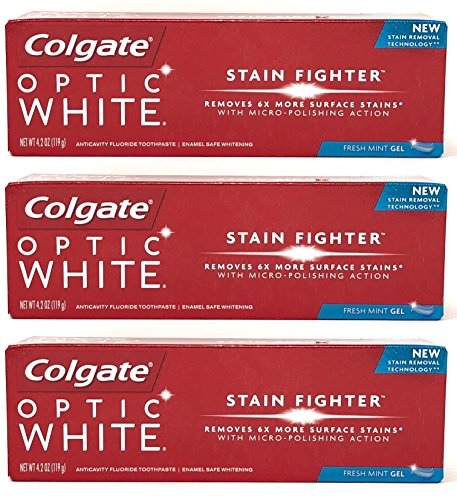 Colgate Optic White Stain Fighter Anticavity Fluoride Toothpaste, Fresh Mint Gel, 4.2 Ounces (Pack of 3)