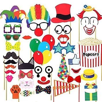 Trimming Shop 36pcs Circo Decoración Fiesta Fotomatón Kit Divertido Payaso