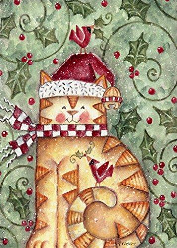 Checkered Holly - Santa Paws - LPG Cat Box of 18 Christmas Cards