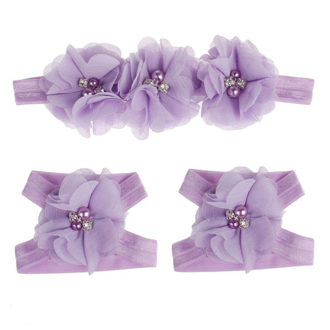 Coromose Colorful Foot Flower Barefoot Sandals + Headband Set for Baby (Purple)