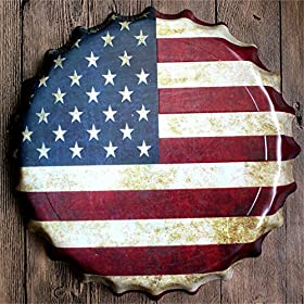 VancyTop Round Shape USA Flag Pattern Cap Retro Tin Sign for Home Bar Living Room Decorations,Diameter:13.8″