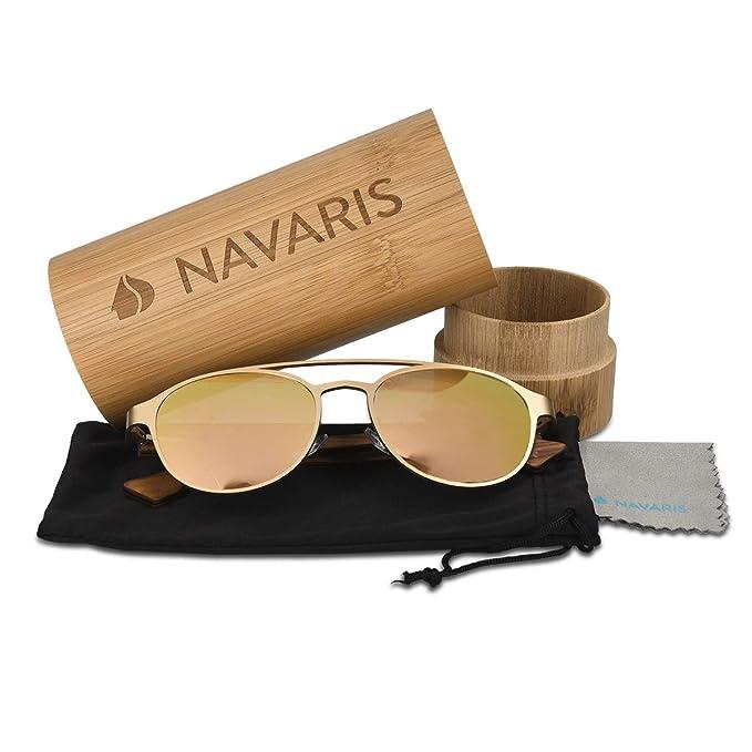 Navaris Gafas de sol estilo aviador- Gafas clásicas para ...