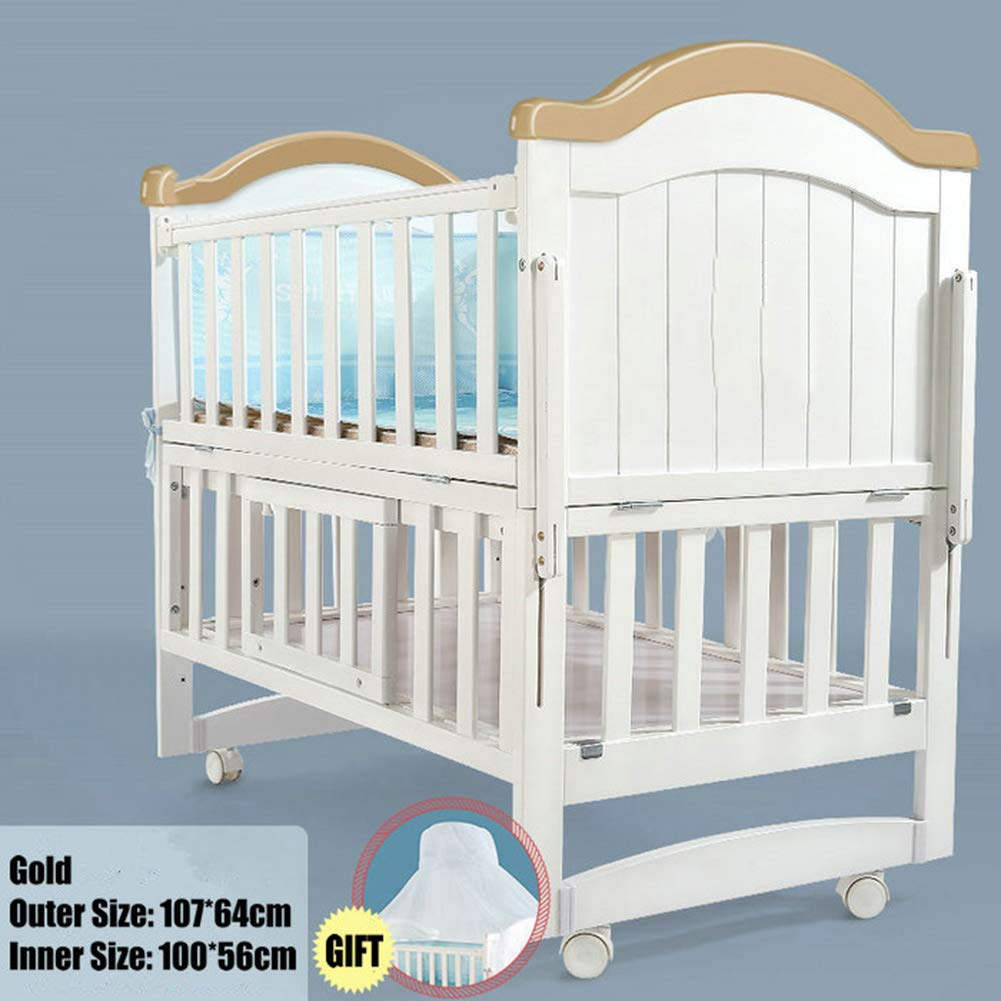 HEEGNPD Baby cot in White Pine Wood Length 110 cm, can be Transformed into a Junior Bed, Baby Cradle can be Rocking Cradle, Bed can Extend to 160 cm,B by HEEGNPD