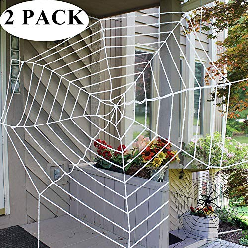 JOYIN Halloween 2 Pack 11ft Mega Spider Web for Halloween Outdoor Decoration - 1 Black and 1 White ()