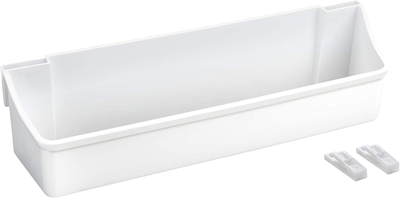 Rev-A-Shelf 6232-14-11-52 14-Inch Plastic Inner Cabinet Door Storage Bin Set, White (Set of 2)