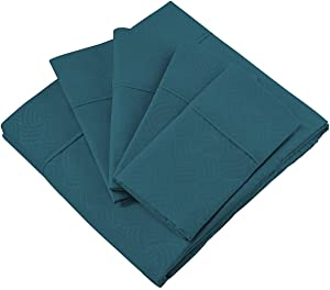 Cosy House Collection Elegant Bed Sheets - Queen Size, Dark Teal (Wavy) - Luxury 6 Piece Hotel Bedding Set - Beautiful Matte & Shine Patterns - Deep Pocket - 1 Fitted, 1 Flat, 4 Pillowcases