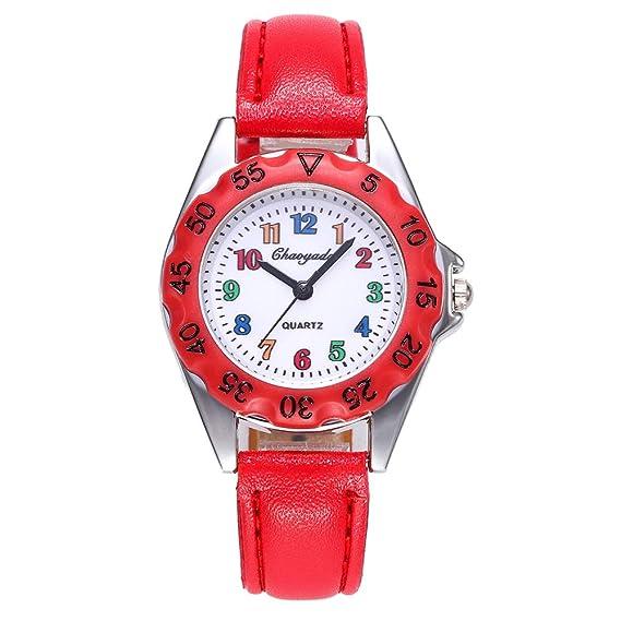 YAZILIND Estudiantes Cartton Ronda Dial Reloj de Cuarzo Impermeable PU Correa de Acero Inoxidable Hebilla de Reloj niñas (Rojo): Amazon.es: Relojes