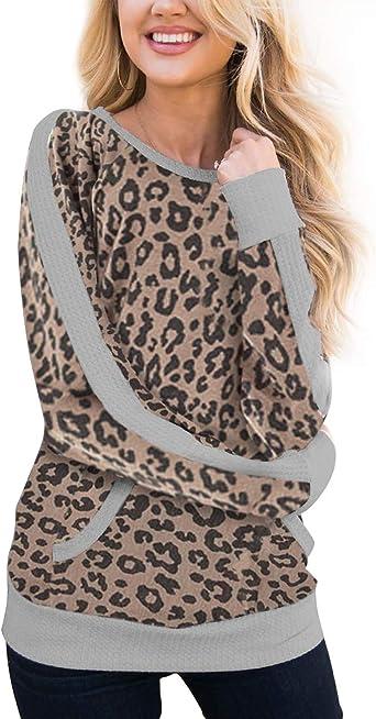 Women Leopard Print Pullover Jumper Blouse Ladies Casual Long Sleeve Hoodies Top