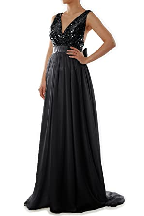 MACloth Women V Neck Sequin Long Prom Dress Wedding Party Formal Evening Gown (US2,