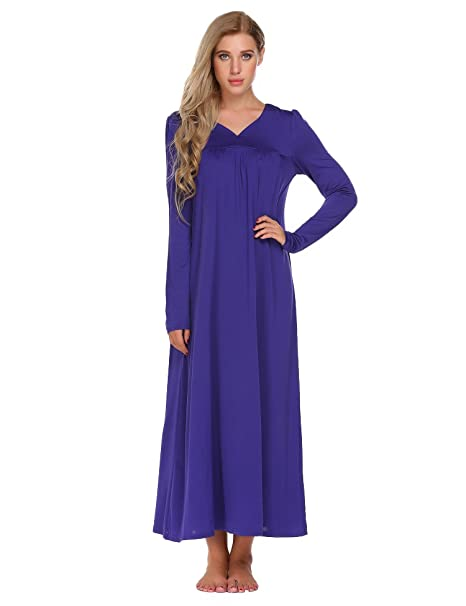 Adidome Womens Long Sleeve Solid Loose V-Neck Sleepwear Maxi Dress Nightgown  Pajamas Purple b93370981