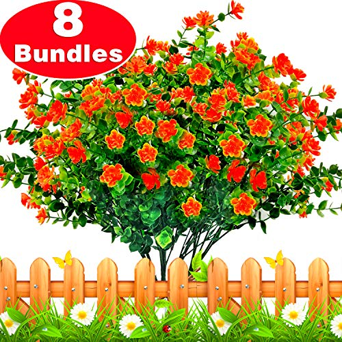 TURNMEON Artificial Flowers, 8 Bundles Faux Outdoor UV Resistant Simulation Greenery Shrubs, Artificial Plants Fake Flowers Indoor Outside Hanging Planter Garden Office Home Wedding Decor