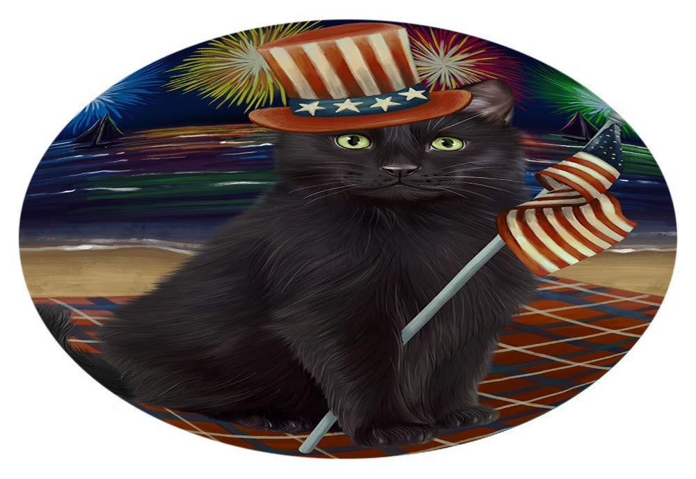 4th July Independence Day Firework Black Cat Oval Envelope Seals OVE65632 (50)