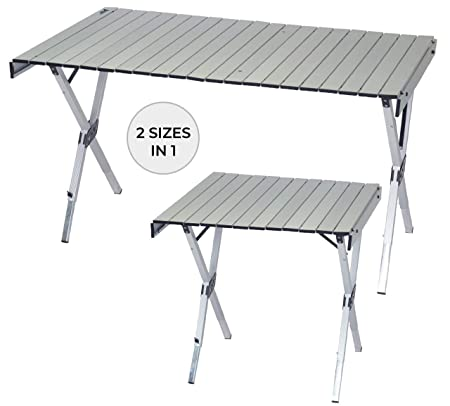 RIO Gear Portable 2-in-1 Heat Resistant Expandable Camping Table with Carry Bag and Handle