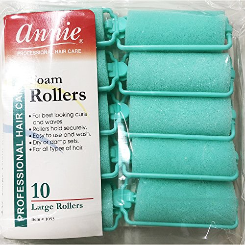 Classic Foam Roller - Annie Classic Foam Cushion Rollers #1053, 10 Count Green Large 1 Inch