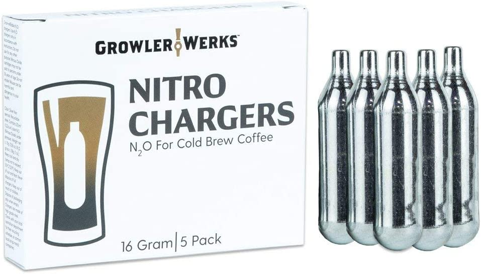 GrowlerWerks N2O Nitro Chargers (package of 5), 16g, Silver