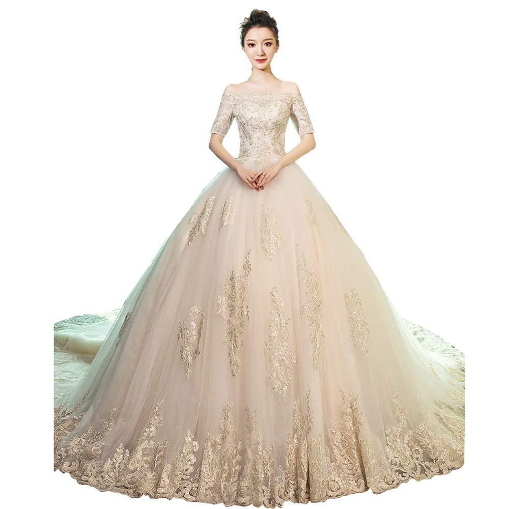 FXSHOP 1ワード肩新しい長袖のウェディングドレスの花嫁レトロ冬 (色 : 白, サイズ さいず : M) B07P9T38YB  白 Medium