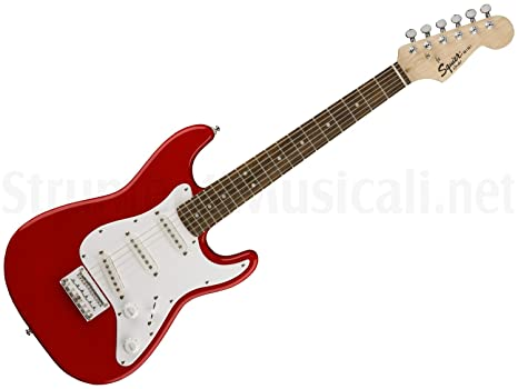 Mini guitarra eléctrica Fender Squier by Affinity roja Red Tamaño 3/4 Travel