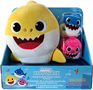 Pinkfong Baby Shark Sound Doll with Mommy and Daddy Cubes