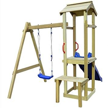 vidaXL Parque Infantil con Tobogan y Columpio Madera de Pino 228x168x218 cm: Amazon.es: Juguetes y juegos