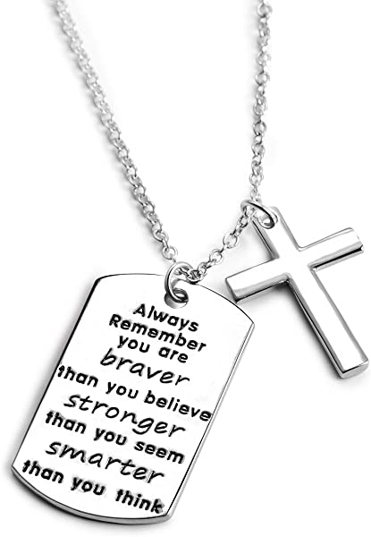 d71fb1498 Inspirational Jewelry, Personalized Necklace with Cross Necklaces Chain Inspirational  Jewelry Gifts for Women Girl Boys Men Birthday Christmas Engraved ...