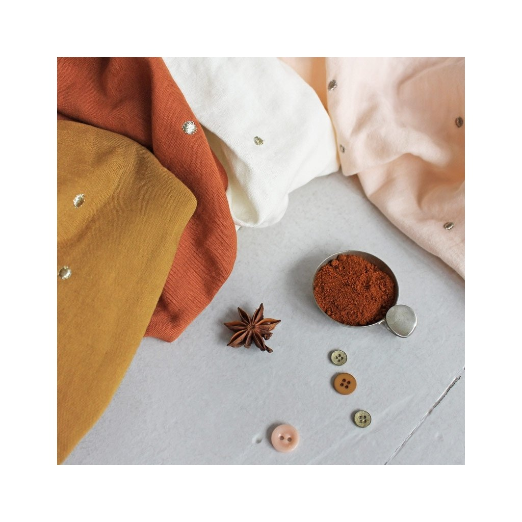 Atelier Brunette Tissu Coton Double Gaze Stardust Chestnut x10cm