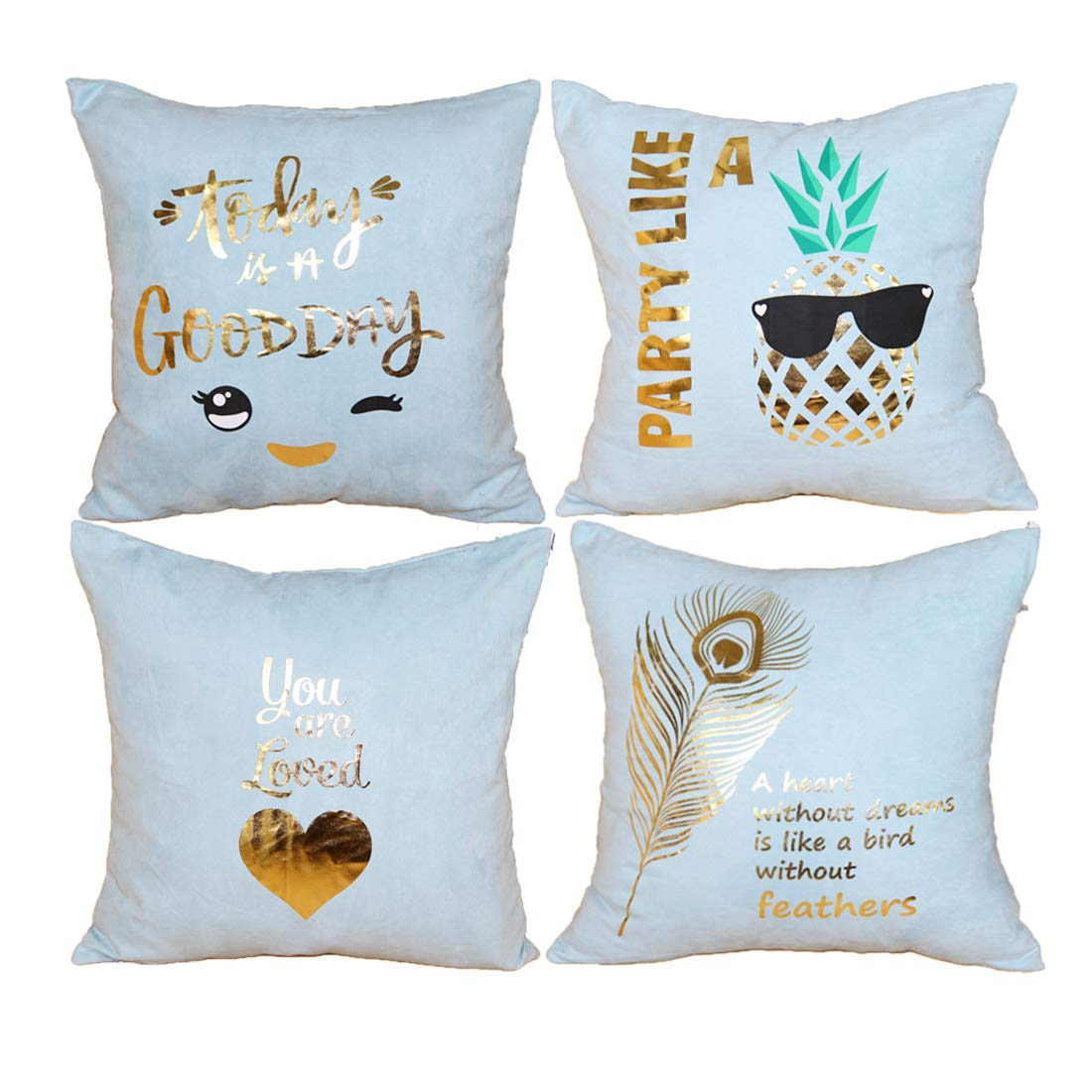 Original Pro Pack of 4 Gold Stamping Decorative Suede Fabric Throw Pillow Cover Soft Soild Square Cushion Case for Sofa Bedroom Car 18x 18 Inch Teal