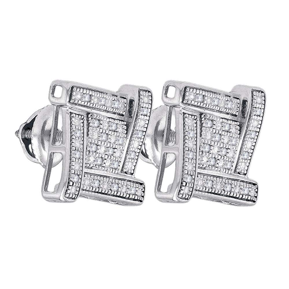 I2-I3 clarity; J-K color Jewels By Lux Sterling Silver Mens Round Diamond Square Cluster Stud Earrings 1//8 Cttw In Prong Setting