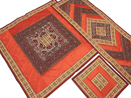 Rust Orange and Maroon Embroidered Classic Tablecloth, Table Runner and 4 Placemats Set in Dupioni Art Silk from India ~ Tablecloth - 40 Inch, Runner - 60 Inch x 20 ()