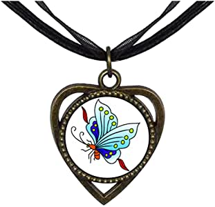 Chicforest Bronze Retro Style Beautiful Lovely Butterfly Heart Shaped Pendant