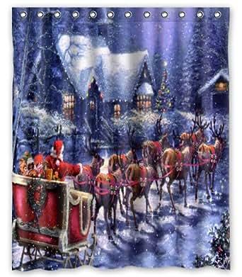 Amazon.com: Shower Curtain christmas eve santa sleigh
