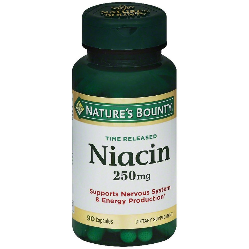 Nature's Bounty Natural Time Release Niacin 250 mg Capsules 90 ea ( Pack of 5)