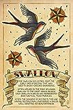 Tattoo Prints Best Deals - Tattoo Flash Sheet - Swallow (12x18 Art Print, Wall Decor Travel Poster)