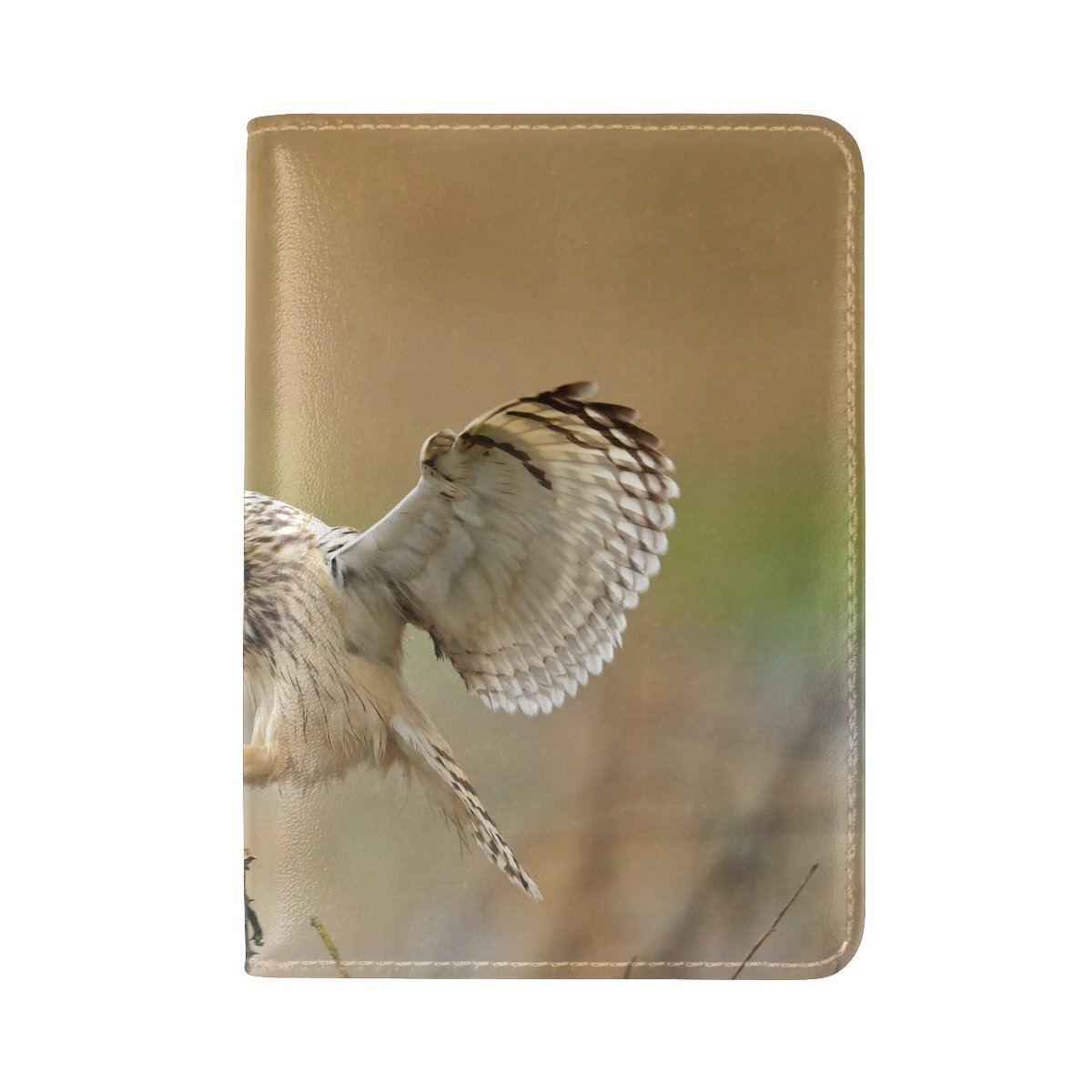 Animal Owl Short-eared Bush Bright Flying Walking Adorable Lonely Leather Passport Holder Cover Case Travel One Pocket