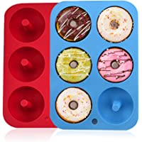 Moldes de silicona para hacer donuts, 6 cavidades antiadherentes, de silicona, bandeja para hornear rosquillas…