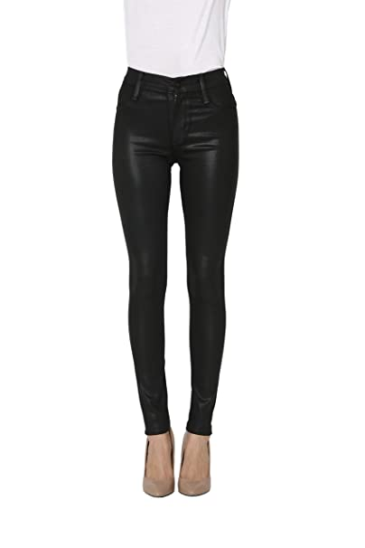 James Jeans Womens Jeans Mid Rise Skinny Wonder Jeans in Black Coated