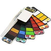 Healifty Conjunto de Pintura Acuarela DE 33 Colores con Cepillo de Agua Portátil para Estudiantes