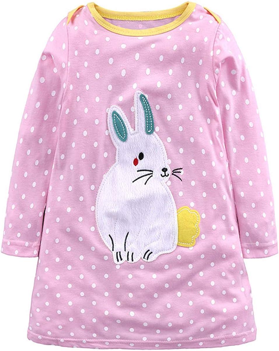 HAOKTY M/ädchen Baumwolle Langarm Cartoon Patch Streifen Tiere T-Shirt Kleid Tuniken 1-7 Jahre