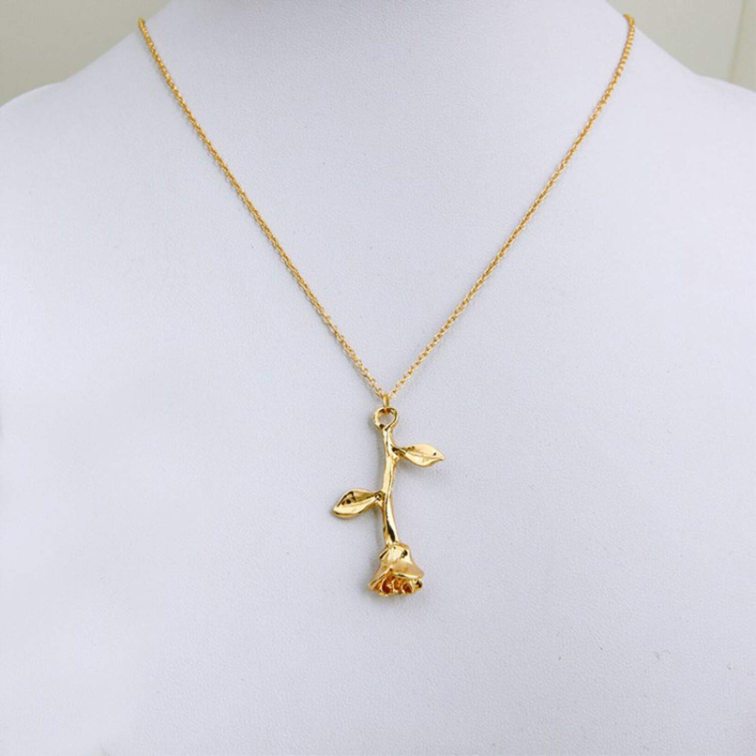 ihuoshang Jewelry Collier Pink Gold Rose Statement Pendant Necklace Womens Beauty and Beast Jewelry Lovers Gifts