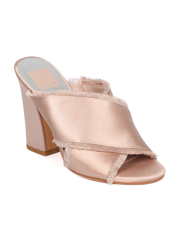 Dolce Vita Henry Women Satin Open Toe Cross Strap Block Heel Sandal HA57 - Rose Satin (Size: 8.0)