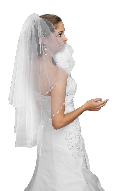 "NEW Womens 2T White Waist Length 32/"" Ivory Wedding Bridal BEADED Veil Comb"